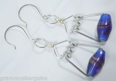 Blue Clothespin Spring Earrings Industrial Steampunk Beaded | eBay