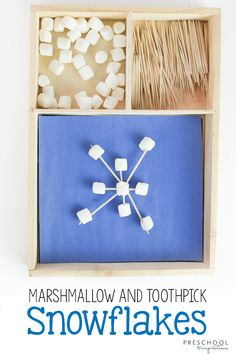 #winteractivity #STEM #preschoolactivity Marshmallow and Toothpick Snowflake STEM Activity the Kids Will Love