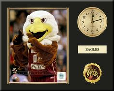 """One 8 x 10 inch Boston College photo of Baldwin inserted in a gold slide-in frame and mounted on a 12 x 15 inch solid black finish plaque.  Also features a 3-inch Arabian gold-faced clock, a customizable nameplate* and a 2-inch """"ALL STAR"""" insert with a gold base.  $59.99 @ ArtandMore.com"""
