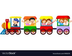Happy kids on a colorful train Royalty Free Vector Image Train Clipart, Train Vector, Diy And Crafts, Crafts For Kids, School Images, School Clipart, Kids Logo, Happy Kids, Geometric Art