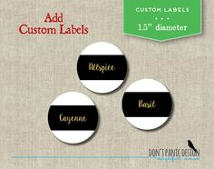 DIY Printable Spice Jar Labels with custom labels available : Modern Black by dontpanicOrganize - Starting at $4.