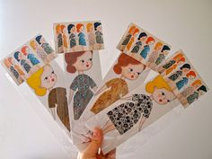 Paper doll decoration gift card paper collage