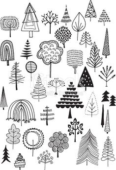 Hand drawn vector doodle trees, quirky and fun nature and Ch.- Hand drawn vector doodle trees, quirky and fun nature and Christmas… Gekritzel Bäumen Lizenzfreies vektor illustration - Doodle Drawings, Tree Drawings, Tree Sketches, Pencil Drawings, Doodle Illustrations, Flower Drawings, Tree Illustration, Fashion Illustrations, Easy Drawings