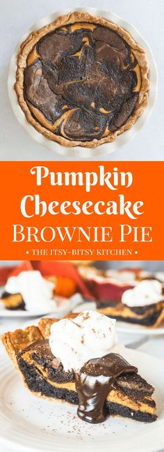 This pumpkin cheesecake brownie pie is the dessert you need when you can't decide between pumpkin pie and CHOCOLATE! recipe via itsybitsykitchen.com #pumpkin #chocolate #Thanksgiving