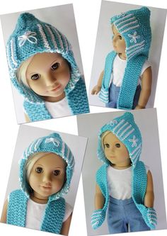 A Hoodie Skoodie - Love it! Knitting pattern for AG Dolls...
