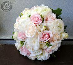 Round Wedding Bouquet Featuring: White Ranunculus, White Freesia, Cream Roses, Pastel Pink Roses, Green Foliage #ranunculuswedding