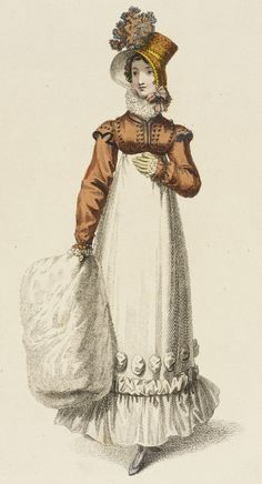 Walking dress, fashion plate, hand-colored engraving on paper, published in Ackermann's Repository, London, November 1817.