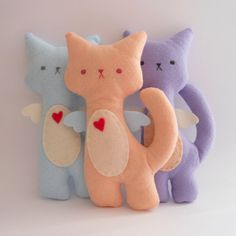 Kitty Cat Plush - Flower Set of 3 stuffed and soft toys.