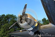 Rotary engine of Douglas Dakota DC-3 C-47 WWII plane exhibit situated in local forest and available for visiting.