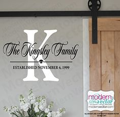 Family Personalized Monogram Vinyl Wall Decal. Personalized Family Name with Established Date Vinyl Decal. Size is for Height of the whole decal, width is the entire width of the decal. Options are in the right side drop down menu.