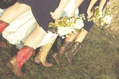 country wedding, boots, bridesmaids