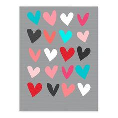 Wall art features 20 colorful hearts on a subtle grey background so your décor never misses a beat.