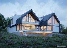 Architektur // Architecture House project: LK & 1474 - Exclusive HOUSE project: Life at the highest Modern Bungalow Exterior, Bungalow House Design, Dream House Exterior, Duplex House, Modern Farmhouse Exterior, Modern Barn House, Contemporary House Plans, Luxury Modern House, Gable House
