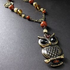 Fossil Stone and Honey Jade Owl Necklace in Bronze