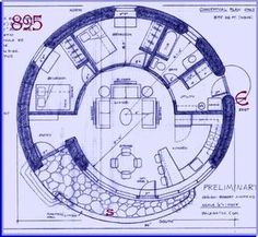 Straw Bale House Plan (895 Sq. Ft.) SPIRAL.. but with the kitchen in the center and a rocket heater, to heat the entire house in winter: