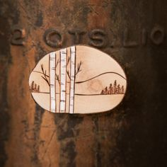 Wood Burned Mountain Scene with birch or aspen by ForageWorkshop, $10.00