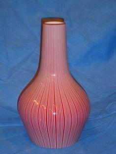 Murano Glass Venini Red and White Strips Onion Pendant Lamp  eBay