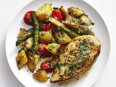 Chicken with Garlic Potatoes and Asparagus Recipe : Food Network Kitchen : Food Network