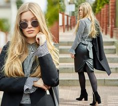 Get this look: http://lb.nu/look/8680053  More looks by Marta Caban: http://lb.nu/marcherry  Items in this look:  Zero Uv Glasses, Zaful Shoes   #classic #elegant #romantic #checked #look #elegance #blackandwhite #zaful #zafuleaster