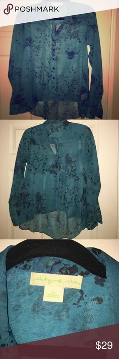 Urban Outfitters - High-low blue pattern blouse Sheer material. Lower in the back for full coverage. Button down collared shirt. Urban Outfitters Tops Button Down Shirts