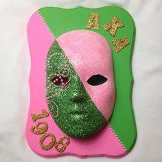 Pink and green masked shield #AKA# #followprettypearlsinc AKA 1908
