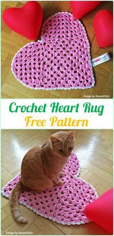 Crochet Heart Rug Free Pattern - Crochet Area Rug Ideas Free Patterns