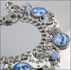Silver Charm Bracelet Blue Moon Jewelry Blue by BlackberryDesigns, $97.00