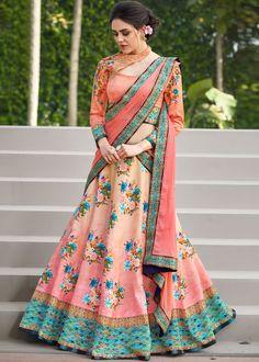 Peach Floral Printed Satin Silk Lehenga Choli Most Loved Styles Floral Lehenga, Silk Lehenga, Indian Lehenga, Anarkali, Sari, Lehenga Suit, Lehenga Blouse, Choli Designs, Blouse Neck Designs
