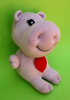 Items similar to Pablo the Baby Hippo Sock Doll on Etsy Sock Dolls, Felt Dolls, Doll Toys, Silly Socks, Cute Socks, Felt Doll Patterns, Sock Monster, Baby Hippo, Sock Puppets