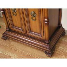 P5511-03A Sink Chest -- Solid wood construction with MDF on sides and front. Detail hand carving with intricate details, multi-tone medium brown finish.
