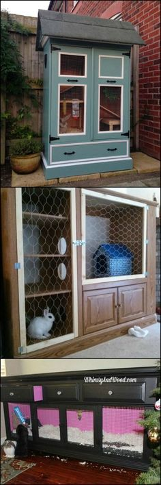 Rabbit Hutch Ideas Made From Repurposed Furniture OK - before we get into the details, it should be clear that this idea is suggested only to pet owners and NOT to those raising rabbits for profit. This idea is good for a litter trained pet and is a nice, budget-friendly solution for owners who are concerned about their rabbit's safety when they are not at home; a temporary indoor cage! #indoorcatsdiy #rabbithutch