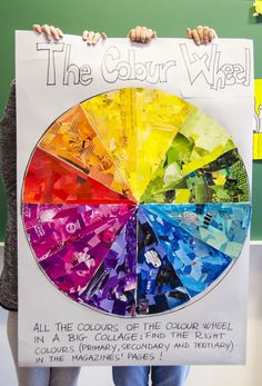 This group work is simple but really effective. You can create a big color wheel with colored pieces of paper, ripped from magazines and old books. The whole class works to complete all the colors …