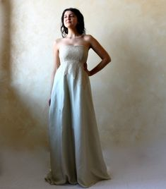Wedding dress, bridal gown, Empire wedding dress, alternative wedding dress, woodland wedding dress, fairy gown, sage green wedding dress, Fairy wedding dress