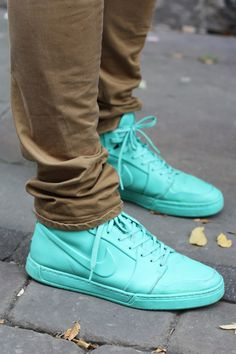 turquoise trainers. Love them!!