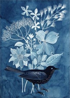 Blue bird watercolor by Geninne on Etsy