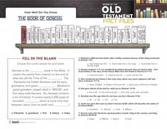 Books of the Old Testament Fact Files — Teach Sunday School
