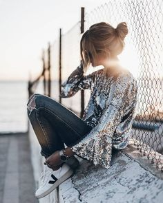 Sparkly sequin top with bell sleeves