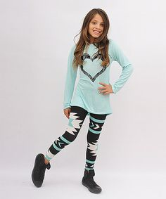 Look at this #zulilyfind! Mint & Black Heart Hi-Low Tunic & Leggings - Toddler & Girls #zulilyfinds