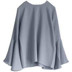Cocoon Bell Sleeve Blouse Dove Grey ($97) ❤ liked on Polyvore featuring tops, blouses, shirts, draped tops, cut-out crop tops, sleeve blouse, long-sleeve crop tops and crop top