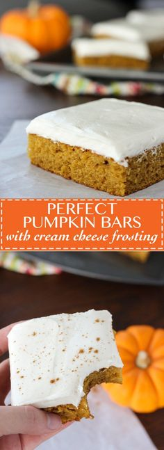Bars with Cream Cheese Frosting Perfect Pumpkin Bars with Cream Cheese Frosting - the perfect way to celebrate fall!Perfect Pumpkin Bars with Cream Cheese Frosting - the perfect way to celebrate fall! Desserts Nutella, Mini Desserts, Fall Desserts, Just Desserts, Delicious Desserts, Yummy Food, Thanksgiving Desserts, Chocolate Desserts, Baking Desserts