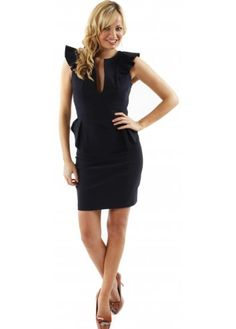 Dress Lola Frill Sleeve & Peplum Detail Navy Dress
