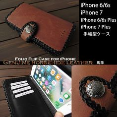 Genuine horsehide leather iPhone 6,6s,7/6,6s,7 Plus Flip Case Wallet Concho Brown WILD HEARTS Leather&Silver(ID ip3338d2) http://global.rakuten.com/en/store/auc-wildhearts/item/ip3338d2/