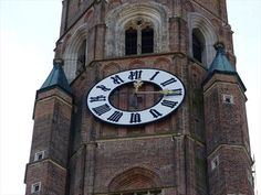 Clocks at the tower of St. Martin's church in Landshut.
