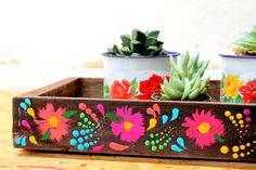 Mini caixote de madeira pintado