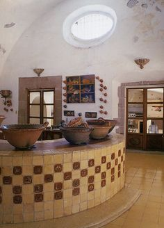 I love how big and airy this kitchen space is. [ MexicanConnexionForTile.com ] #Hacienda #kitchen #Talavera #handmade #Mexican