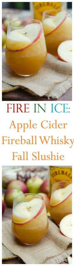 A different twist on a fall cocktail!fire in ice quot; has apple cider cinnamon whisky blended with ice and topped with a splash of ginger beer amazing! go go go gourmet gogogogourmet these fall cocktails are perfect for crisp autumn days Cocktails For Parties, Fall Cocktails, Fall Drinks, Cocktail Drinks, Cocktail Recipes, Cocktail Ideas, Bartender Drinks, Alcoholic Drinks, Drink Recipes