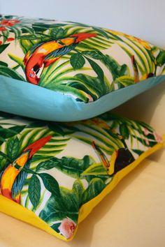 Housse de coussin [Tropical] 40 x 40 cm  Toucan/Perroquet/Jungle/exotique