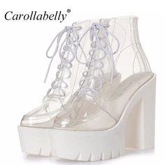 4b3f64112b1 Barato Mulheres outono botas de plataforma de salto grosso transparente tornozelo  botas mulheres rendas até botas