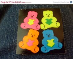 on sale vintage stickers VERY RARE BEARS  by BarginBag on Etsy