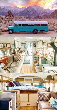 Retired prison bus was converted to gorgeous off-grid home When New England couple Ben and Meag Poirier first laid eyes on the 1989 Chevy retired prison bus from MA, they were intrigued. They had to see it in pe Bus Living, Tiny House Living, Tiny House Bedroom, Van Life, Casas Trailer, School Bus Tiny House, School Bus Rv, Mercedes Vito, Tyni House